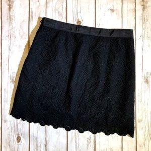 J.CREW Black Factory Scalloped Lace Mini Skirt